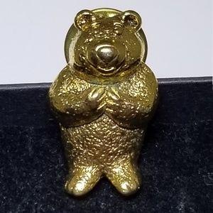Vintage MJ Gold Teddy Bear Lapel Pin #75